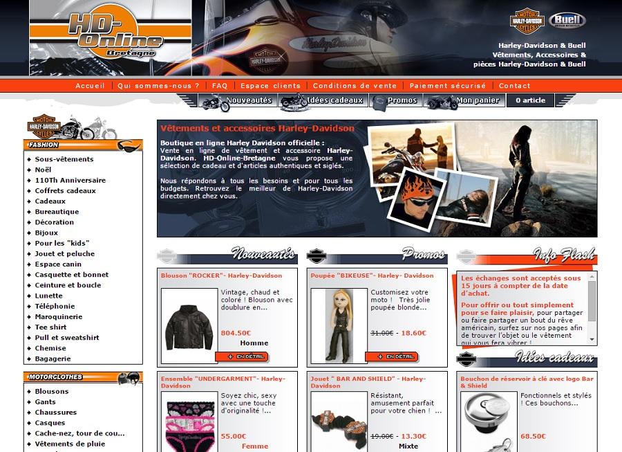 Boutique en ligne de Vêtements et accessoires Harley Davidson.